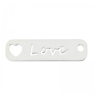 Ciondolo forato love 22 mm in Argento 925 x1