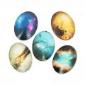 Cabochons ovali decorati 40x30 mm Galaxy x5