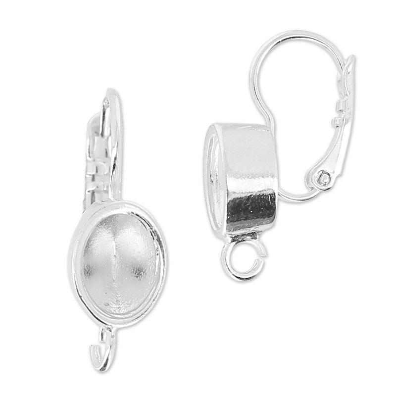 Gancio per orecchini porta cabochon 4120 8x6 mm rodiato x2 - Creare porta orecchini ...