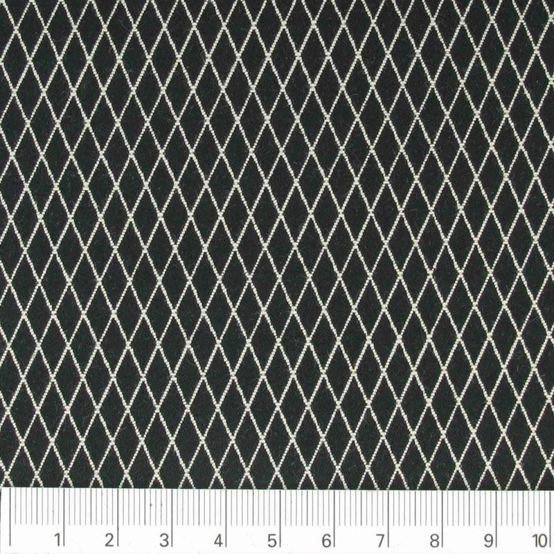 tessuto cotone poliestere losanghe nero x10cm perles co