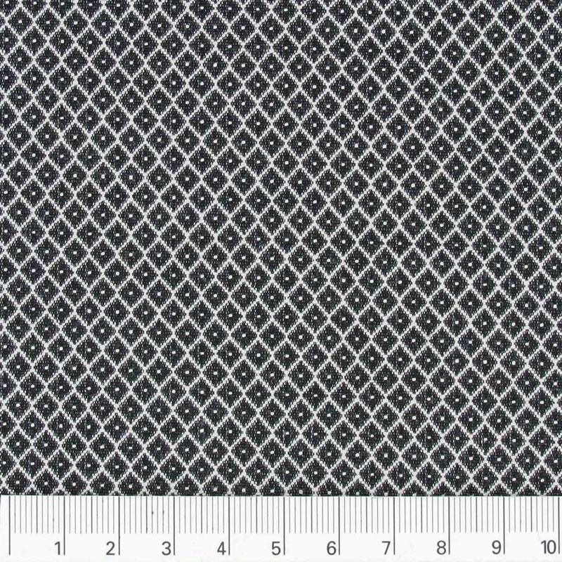 tessuto cotone poliestere losanghe nero bianco x10cm