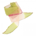 Nastro in seta mm.25 Tie and Dye Lillie Olive/Rose/Framboise x85cm