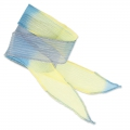 Nastro in seta mm.25 Tie and Dye Dadelion Blu/Lavanda/Giallo x85cm