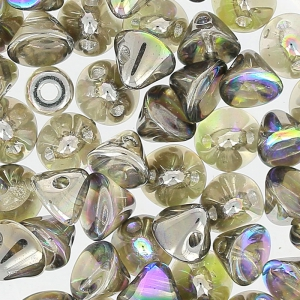 Button Bead 4 mm Crystal Graphite Rainbow x50