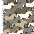 Tessuto Houndstooth & Friends - Taupe Unicorn Herd x10cm