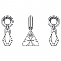 Triangle Charms Swarovski 87002 mm. 12 Crystal Silver Night x1