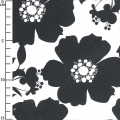 Tessuto Opposites Attract - Big Floral in Black on White x10cm
