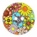 Bottone Madreperla Fleurs 23 mm Multicolore x1