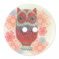Bottone Madreperla Hibou 23 mm Lampone x1