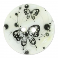 Bottone Madreperla Papillon 23 mm Nero/Bianco x1