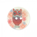 Bottone Madreperla Hibou 15 mm Lampone x1