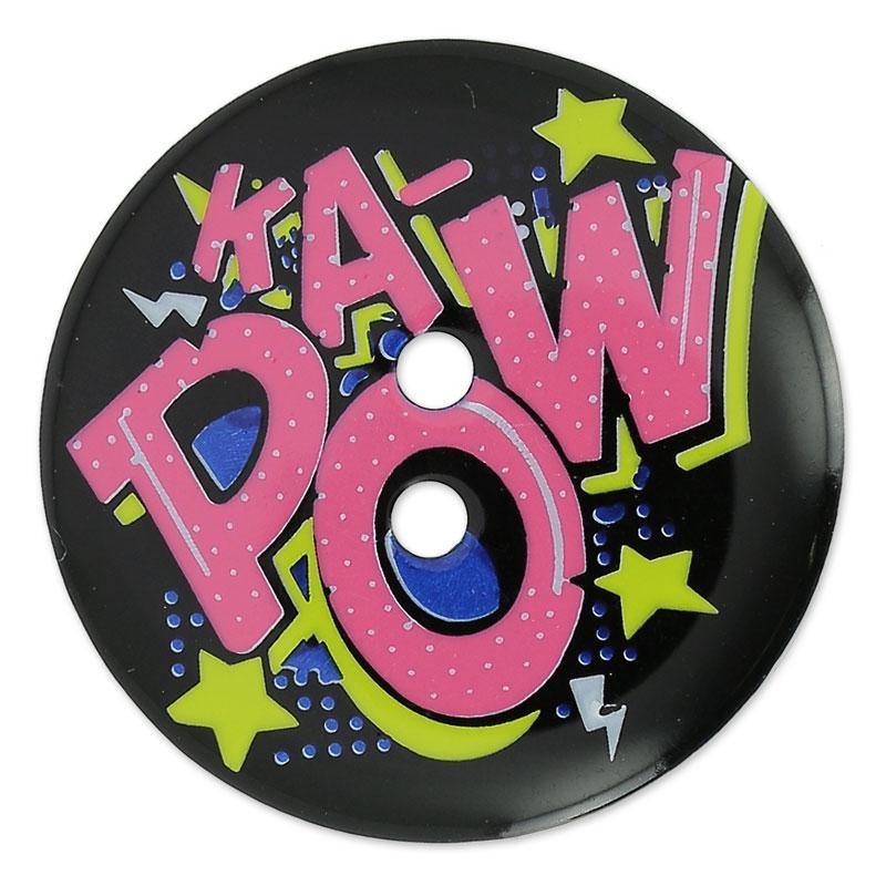 Bottone decorato cartone animato ka pow mm giallo rosa