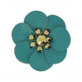 Fiore in similcuoio 30 mm Dark Green Turchese  x1