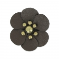 Fiore en simili cuir 30 mm Marrone x1