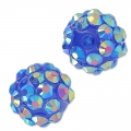 Perline di resina con strass 12 mm Crystal AB/Blu x5