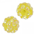 Perline di resina con strass 12 mm Crystal AB/Giallo x5