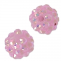 Perline di resina con strass 12 mm Crystal AB/Lilas x5