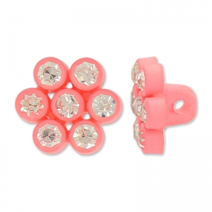 Bottone fiore strass 11 mm Rosa x1