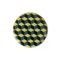 Cabochon calamitato 25 mm Cubi blu/Giallo x1
