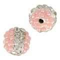 Tonda plastilina con strass 10 mm Crystal/Light Rose