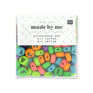 Assortimento di 165 perline in plastica - Lettere - 7 mm Multicolore