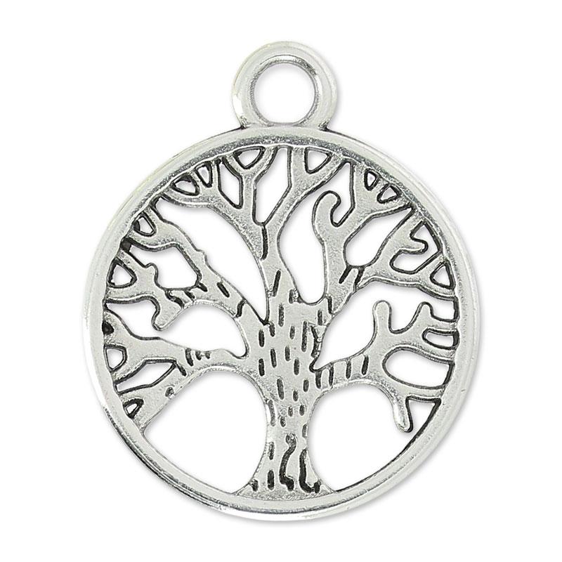 rivenditore online 279f2 5fe32 Ciondolo albero della vita 24 mm argentato antico x1