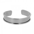 Base in ottone per bracciale Eco con bordo incurvato mm. 15 gunmetalx1