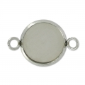 intercalaire per cabochon retro piatto 12 mm in acciaio inox x1