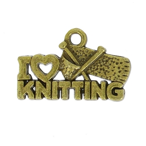Ciondolo I love knitting 20x13 mm bronzo x1