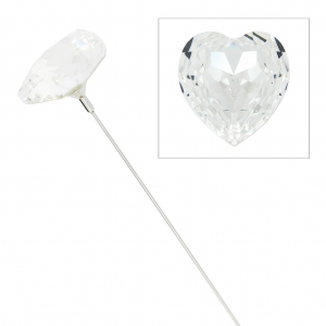Flower Pin Swarovski cabochon 4827 28 mm rodiato Crystal x1