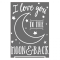 Trasfert autodesivo I love you to the moon and back 24.8x17 cm Bianco x1