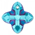 Pendente Swarovski 6868 Cross Tribe mm. 14 Aquamarine Metallic Blue