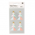 Stickers Paper Poetry Alberi di Natale 43 mm Pastello/Dorato x16