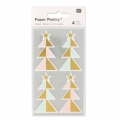 Stickers Paper Poetry Alberi di Natale 57 mm Pastello/Dorato x16