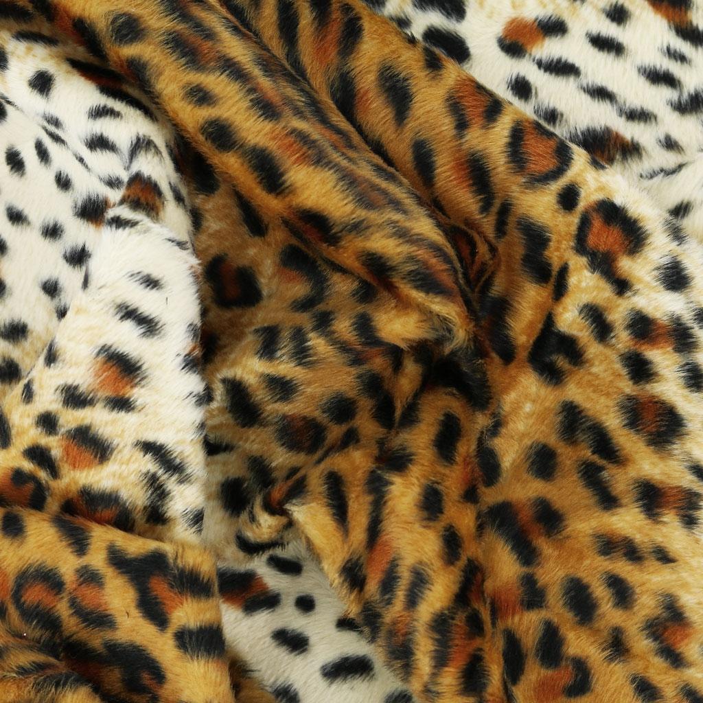 new style 29f5a e43db Tessuto pelliccia sintetica pelo corto - Giaguaro x10cm