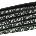Laccetto cuoio Love Heart Hope 5 mm Nero/Silver x30cm