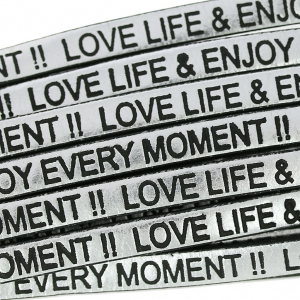 Laccetto cuoio Love life and enjoy every moment 5 mm Silver/Noir  x30cm