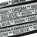 Laccetto cuoio Believe Wish Dream 5 mm Silver/Noir  x30cm