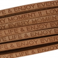 Laccetto cuoio Love life and enjoy every moment 5 mmNaturel x30cm