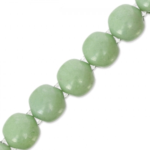 Perle in vetro Dobble Beads 2 fori8 mm Op. Light Green Ceramic Look x20