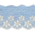Broderie anglaise motif feuille sur denim 60 mm Light Blue Jean x50cm