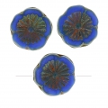Perline in vetro Hawaiian Flowers Beads 12 mm Opaque Blue Picasso x10