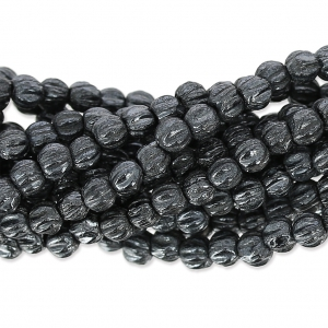 Perline in vetro Melon Bead 3mm Jet Hematite x20