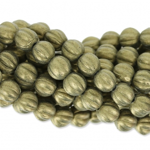 Perline in vetro Melon Bead 5mm Metallic Suede Gold x15