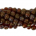 Perline in vetro Melon Bead 5mm Ruby Bronze Iris x15