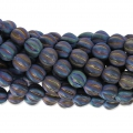 Perline in vetro Melon Bead 6mm Blue Iris Mat x15