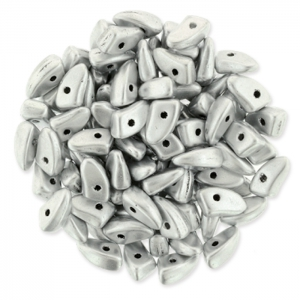 Perline in vetro Prong Beads 1 trou 3x6 mm Silver Mat x5g