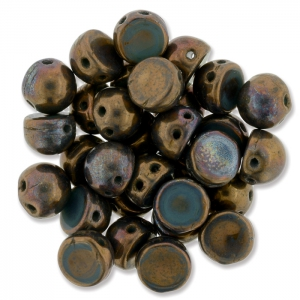 Perline in vetro Czechmates Cabochons 2 fori 6mm Bronze Oxidized x5g