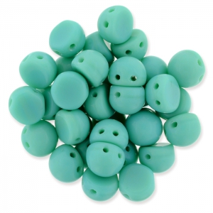 Perline in vetro Czechmates Cabochons 2 fori 6mm Green Turquoise x5g