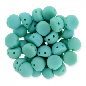 Perline in vetro Czechmates Cabochons 2 fori 6mm Green Turquoise Mat x5g